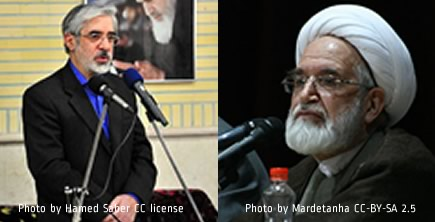 Photo of Mousavi by Hamed Saber, of Karoubi by Mardetanha, from the Wiki Commons.