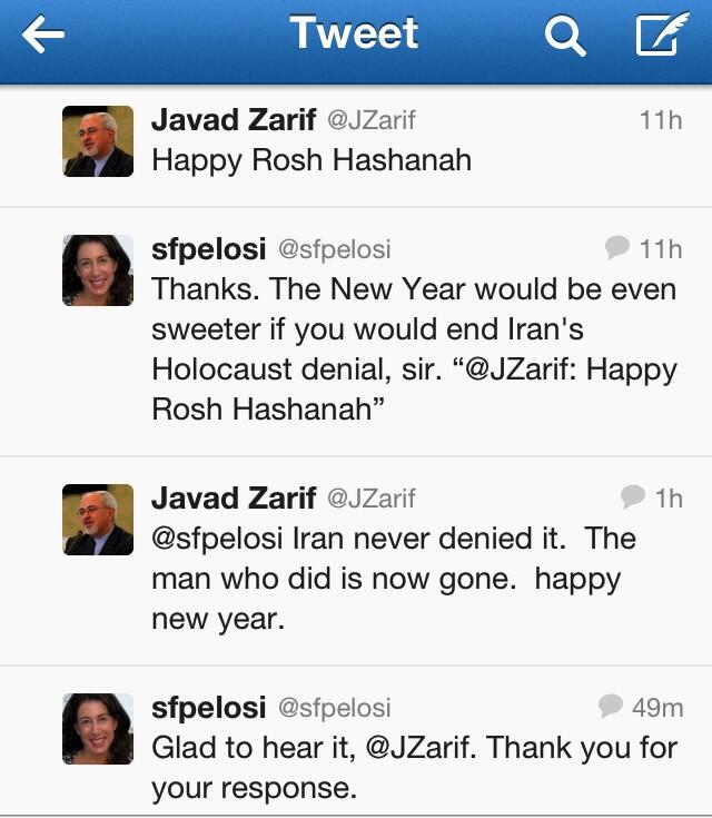 Pelosi Zarif tweets